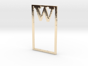 Bookmark Monogram. Initial / Letter W  in 14k Gold Plated Brass
