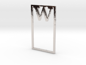 Bookmark Monogram. Initial / Letter W  in Rhodium Plated Brass