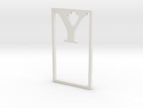 Bookmark Monogram. Initial / Letter  Y  in White Natural Versatile Plastic
