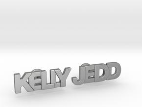 "Custom Name Cufflinks - ""Kelly & Jedd"" in Natural Silver"
