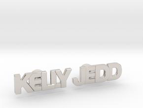 "Custom Name Cufflinks - ""Kelly & Jedd"" in Rhodium Plated Brass"