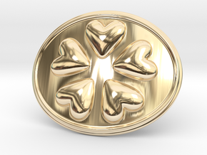 Round Dance Of Hearts Belt Buckle in 14k Gold Plated Brass