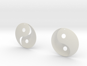 Yin Yang Earrings in White Natural Versatile Plastic