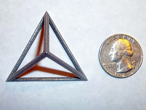 "Tetrahedron 1.75"" in Polished Bronzed Silver Steel"