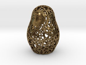 Matryoshka / Nesting Doll Pendant in Polished Bronze