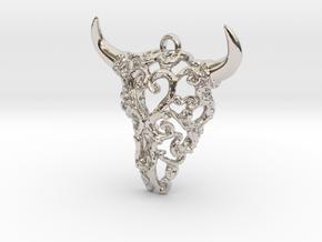 Filigree Bison Skull in Rhodium Plated Brass