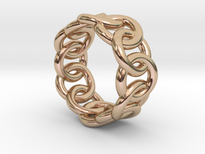 Chain Ring 20 – Italian Size 20 in 14k Rose Gold Plated