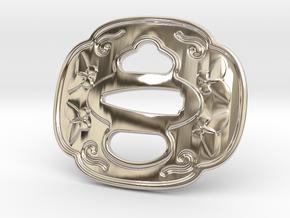 Tsuba Belt Buckle - 鍔  バックル in Rhodium Plated Brass
