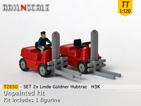 SET 2x Linde Güldner Hubtrac H3K (TT 1:120) in Frosted Ultra Detail