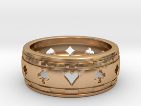 Poker Ring in Polished Bronze: 4 / 46.5