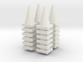 Road Cone Stack (4Pack) 1-64 Scale in White Natural Versatile Plastic