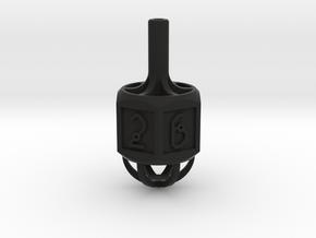 Dice: Spinner Vertex Dice in Black Natural Versatile Plastic