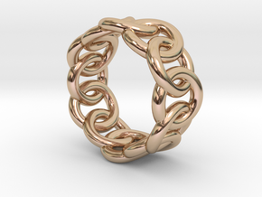 Chain Ring 26 – Italian Size 26 in 14k Rose Gold Plated Brass
