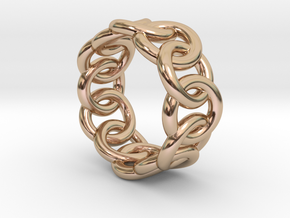 Chain Ring 29 – Italian Size 29 in 14k Rose Gold Plated Brass