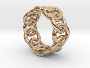 Chain Ring 30 – Italian Size 30 in 14k Rose Gold Plated Brass