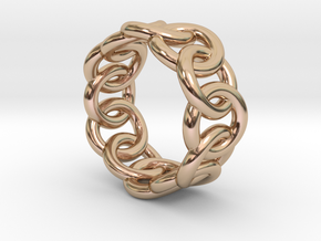 Chain Ring 31 – Italian Size 31 in 14k Rose Gold Plated Brass
