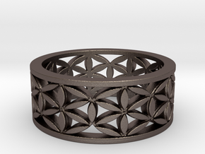 Flower of life  Size 10.25 in Polished Bronzed Silver Steel
