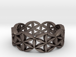 Flower of life V2 Size 10.25 in Polished Bronzed Silver Steel