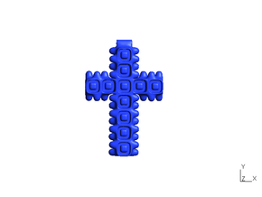 Cross, type D - small in Blue Processed Versatile Plastic