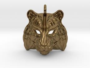 Tiger Pendant in Natural Bronze