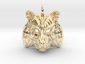 Tiger Small Pendant in 14K Yellow Gold