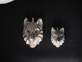 Timber Wolf Small Pendant in Polished Bronzed Silver Steel