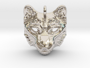 Snow Leopard Pendant in Rhodium Plated Brass