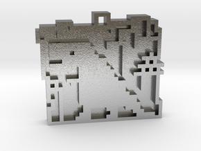 "Minimalist pixel-art style pendant ""Tokio"". Design in Natural Silver"