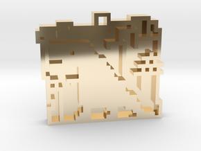 "Minimalist pixel-art style pendant ""Tokio"". Design in 14k Gold Plated Brass"
