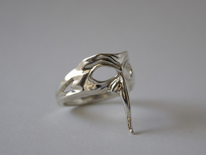 Mask Ring - Zanni in Polished Silver: 6.5 / 52.75