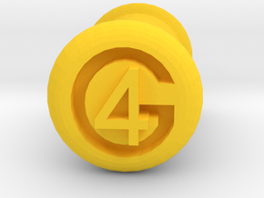 4 Gauge Ear Tunnel Engraved in Yellow Processed Versatile Plastic