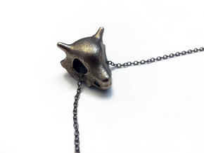 Cubone Skull Pendant in Polished Bronzed Silver Steel