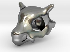 Cubone Skull Pendant in Polished Silver
