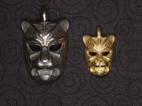 Leopard kabuki-style Small Pendant in Polished Bronzed Silver Steel
