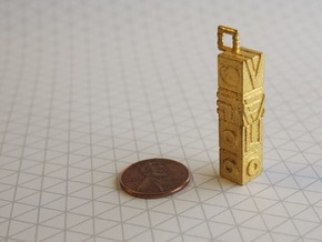 Monument Valley Totem Keychain in Matte Gold Steel