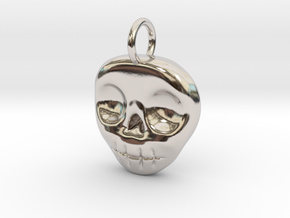 Skull Necklace/Earring pendant in Rhodium Plated Brass