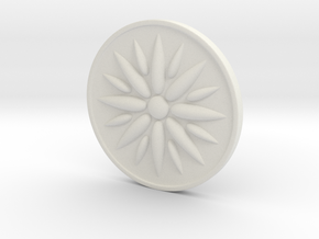 Sun Of Vergina Amulet in White Natural Versatile Plastic