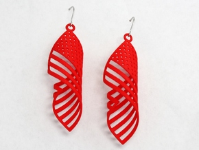 American Flag Swirl Earrings in Red Strong & Flexible Polished