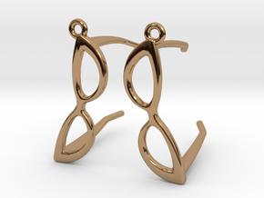 Cateye Glasses Earrings - 3D in Polished Brass