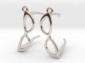 Cateye Glasses Earrings - 3D in Rhodium Plated Brass