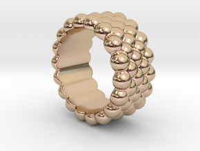 Bubbles Round Ring 21 – Italian Size 21 in 14k Rose Gold Plated Brass