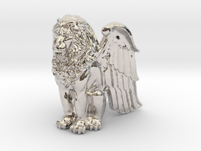 Winged Lion 25mm in Rhodium Plated Brass