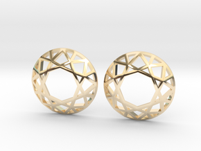 Diamond Wireframe Top Earrings in 14k Gold Plated Brass