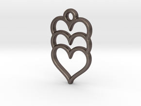 Hearts x 3 in Polished Bronzed Silver Steel