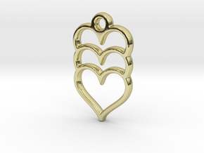 Hearts x 3 in 18k Gold Plated Brass