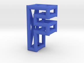 F in Blue Processed Versatile Plastic