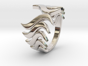 Fashion Fire Ring 1008 in Rhodium Plated Brass