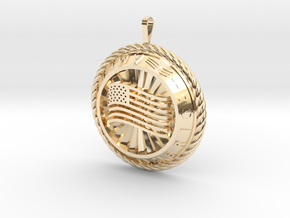 America Medalion in 14k Gold Plated Brass