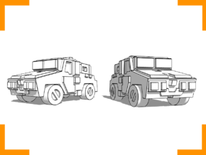 'Moose' Armored Car 6mm in White Strong & Flexible