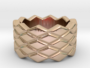 Rhombus Ring 17 – Italian Size 17 in 14k Rose Gold Plated Brass